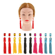 Fashion Ethnic Beads Knotted Tassel Earrings Statement Crystal Studs Earring