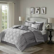 Elegant Silver Grey Taupe Embroidered Faux Silk Comforter 7 pcs Cal King Queen