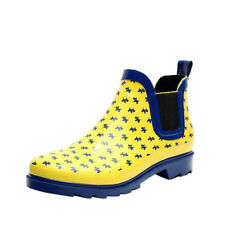 US Womens Girls Non-slip Elastic Rain Boots Rubber Waterproof Shoes Ankle Boots