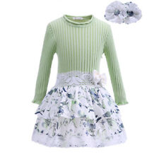 Toddler Girl Knitted Dress with Headband Long Sleeve Flower Skirt Princess Party