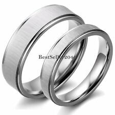 Couple Silver Tone Stainless Steel Band Wedding Promise Engagement Love Ring