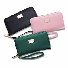 Vintage Lady Zipper Leather Clutch Coin Phone Bag Long Purse Wallet Card Holder