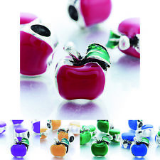 5pcs charm Enamel Apple beads Fit chain bracelet silver Plated free shipping