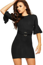 Womens Belt Buckle Flared Bell Sleeve Ladies Stretch Ribbed Bodycon Dress