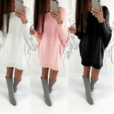 Pullover Sweater Tops Fashion Women Long Sleeve Knitted Dress Casual Loose Dress