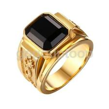 Retro Black Shiny Gem Ornament Gold Stainless Steel Carved Dragon Totem Ring