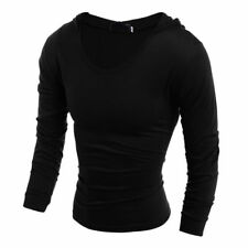 Mens New Casual Cultivate One's Morality Hooded Long-Sleeved T-Shirt Hot Fashion