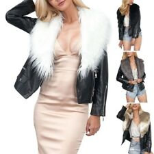 Winter Warm Womens Faux Fur Collar Coat PU Leather Jacket Parka Overcoat Fashion