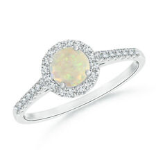 Round White Opal Diamond Halo Ring in 14k White Gold/Platinum Size 3-13