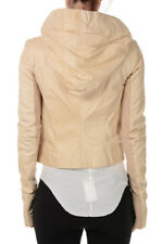 RICK OWENS New Woman Bone HOODED BIKER Leather Jacket NWT Made ITaly