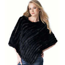 Black fashion women knitted rabbit fur cape stoles real fur shawls ponchos