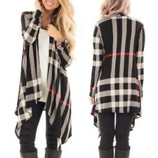 Womens Long Sleeve Soft Draped Rayon Waterfall Open Front Plaid Cardigan Outwear