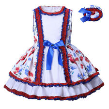 Girl Flower Skater Dress and Headband Set Lace Sleeveless Princess Party Pageant