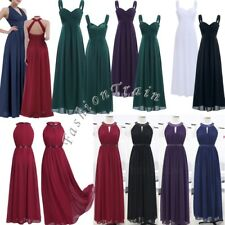 Sexy Women Chiffon Halter Bridesmaid Long Maxi Evening Prom Gown Formal Dress