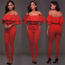 Women Sexy Lotus Leaf Side Pants And Side Broad Leg Pants ClothesTight Rompers