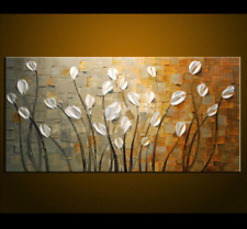 White Flower Abstract Oil Painting On Canvas Home Decor