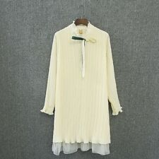 Women Plus Size Ruffled Collar Long Sleeve Chiffon Material Pleated Dress RQ083