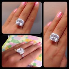 Radiant Cut Diamond Ring Solid Sterling Silver 925 Engagement Ring
