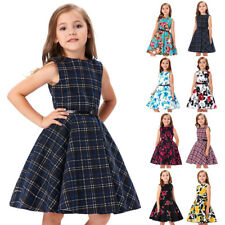 Girls Floral Dress 50s Vintage Retro Pinup Swing Evening Kids Party Dance Gown