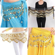 New Chiffon Belly Dance Hip Scarf 3 Rows Coin Belt Skirt BH