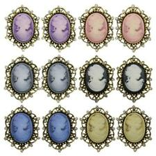 12pcs Vintage Cameo Victorian Style Crystal Wedding Party Jewelry Brooches