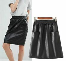 Women New Stylish Look 2 Pocket Skirt Elastic Waist A-line Black Elegant Skirt