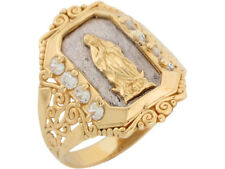 10k or 14k Two Tone Gold White CZ Religious Lady Guadalupe Mens Ring