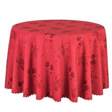 1pcs Red Color Floral Pattern Round Shape Tablecloth For Party Wedding Decor