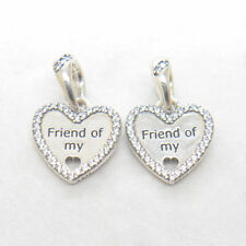 2 pcs Genuine S925 Sterling Silver Hearts of Friedship CZ Dangle Bead Charm
