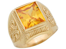 10k or 14k Yellow Gold Simulated Yellow Topaz November Birthstone Mens Wide Ring