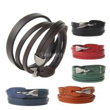 Fashion Retro Multilayer Leather Wristband Bracelet Cuff Bangle Men Women Punk