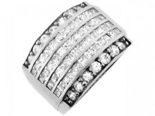 10k or 14k White Gold Band White CZ Wrap Design Mens Ring