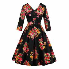 Women New Fashion Long Sleeves Flora Print Bow Design Vintage Dress