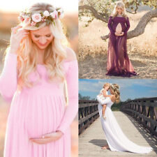 Pregnant Womens Chiffon Maxi Dress Maternity Gown Photography Props Dress