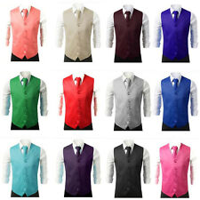 New Men SOLID Formal Waistcoat Dress Vest and Neck Tie 2PCS Wedding Prom Casual