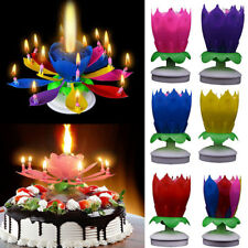 New Cake Topper Lotus Flower Candle Blossom Musical Rotating Birthday Decoration