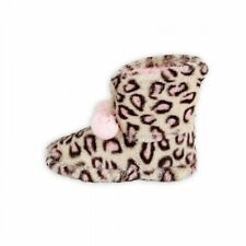 NWT Girls Faux Fur Bootie Boot Slippers Leopard Pink Poms S 10/11 M 12/13 L 1/2