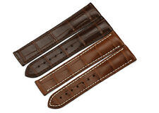 20mm/18mm Brown Alligator Grain Leather Watch Band Strap Wrist Bracelet For Mens