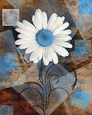 Rustic Distressed Daisy Flower Home Decor Bathroom Bedroom Brown Blue Wall Art