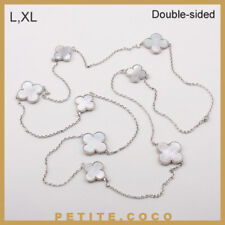 Handmade L,XL mother of pearl 8p four leaf clover silver necklace