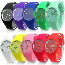 Womens Silicone Band Dial Quartz Analog Cute Sports Candy Color Wrist Watch