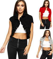 Womens Ruffle Frill Cable Knitted Cropped Short Open Shrug Top Ladies Cardigan