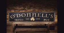 Personalized IRISH PUB Sign Custom with Your Name Rustic Hand Painted Wood Sign