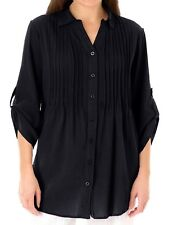 New Ladies Black Pur Cotton Shirt Pintuck Roll Sleeve Blouse Top Plus Size 22-36