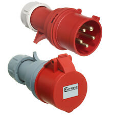 16 AMP Red 415V 3 Phase Industrial Plugs and Sockets 4 Pin 5 Pin IP44 Ceeform