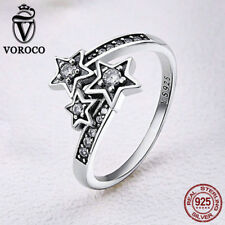 Voroco Stars Dotted S925. Sterling Silver Finger Ring For Fashion Girls Jewelry