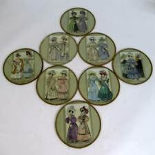 Vintage Set of 8 Ladies French Fashion Placemats Glass Surface with Description