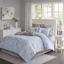 New Beautiful Blue Chic Floral Cotton Comforter 8 pcs Cal King Queen Bedding Set