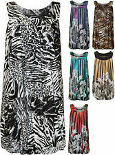 New Plus Womens Sequin Print Ladies Bubble Hem Long Sleeveless Vest Top 14-28