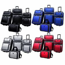 New Yorker 4-Piece Light Expandable Rolling Luggage Suitcase Tote Bag Travel Set
